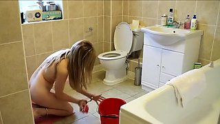 Homemade solo with my nude blonde GF cleaning the bathroom