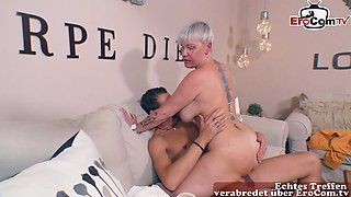 german granny with big boobs try porn with younger guy