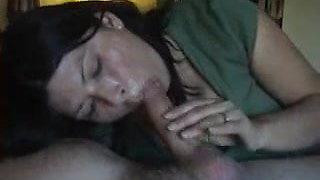 Beautiful Amateur Wife Sucks Dick and Swallows His Cum