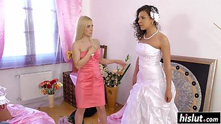 Bride and her maids have some fun
