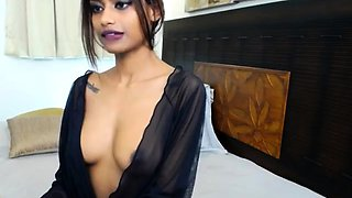 Seductive brunette flashes her perfect boobs on the webcam