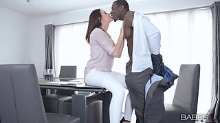 After hours in the office a black guy lays the pipe to his hot white boss