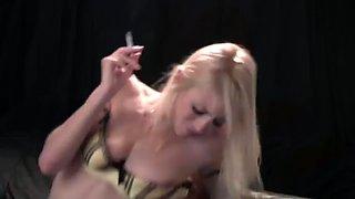 Chain smoking hot blonde blacked
