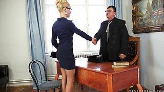 sexy secretary sucking old cock