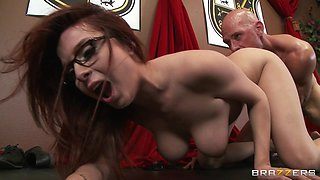 Trimmed pussy office lady Ashley Graham gets fucked balls deep