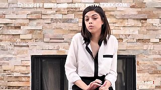 Charismatic brunette, Harmony Wonder went to a hotel room with her boss to munch his dick