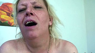 Busty 70 yo granny giving head before cock riding