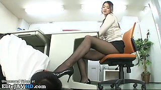 Japanese tall cougar in tights plays with office guy