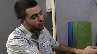 Struggling student rimmed in office