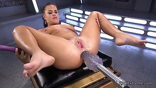 Monster machine anal fucks brunette