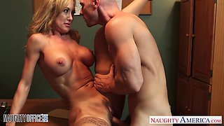 Hot boss with big tits Brandi Love offers herself right on the table