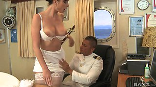 Bijou takes off her clothes for a horny captain's cock