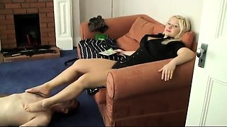 Dominant milf has her slave licking her holes and her toes