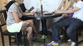 Old couple seduce blonde teen into family 3some