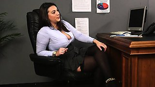 Busty brit voyeur teases cfnm sub from desk