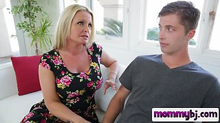 Blonde nympho milf seduce a young boy and blow his huge pecker in pov