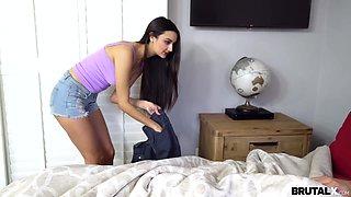 19 yo hormone girl Eliza Ibarra is spaying on her sleeping stepbrother