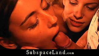 Blonde slavegirls sharing cum after hard spanking