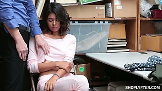 Good looking shy brunette Kat Arina performs her first BJ session this day