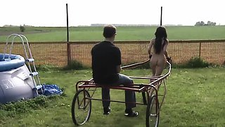 Teen innocent slave subjected to harsh outdoor bdsm