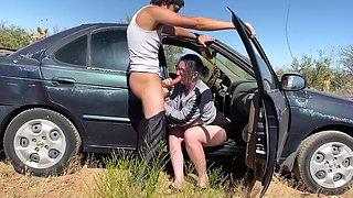 Pregnant slut fucked in public swallows cum