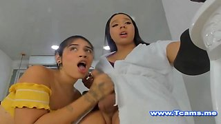 Hot Shemale Giving Her Friend A blowjob