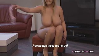 Fat blonde beauty with big tits, Crystal Swift is kneeling on the floor and sucking hard cock
