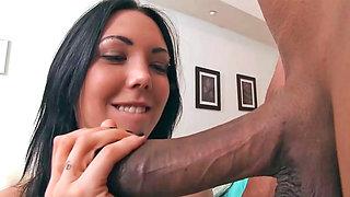 Slut Megan Foxx tastes a real big black monster cock