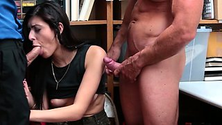 Small tits brunette is punished by 2 big cocks for stealing