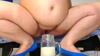 bbw preg squirts creamy cum into glass again