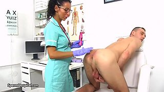 Hot doctor is using every opportunity to be naughty with her patients and play with hard dicks