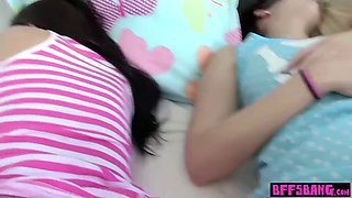 Hot teen stepsister fucked next to her sleeping friends