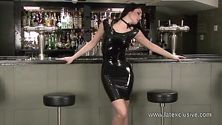 Random solo by too party hard latex bitch posing on the bar counter