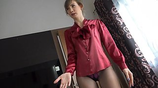 Horny bitch in nylon pantyhose is ready to be fucked missionary