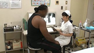 Asian nurse treats black cock