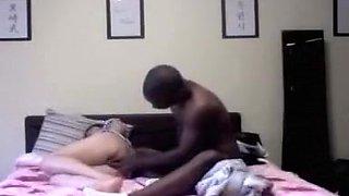 Black guy fucks his korean female friend in his bedroom