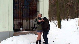 Old Guy Seduce Curvy Nylon Teen to Fuck Outdoor in Snow
