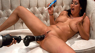Exotic squirting, ebony porn movie with hottest pornstar Isis Love from Fuckingmachines