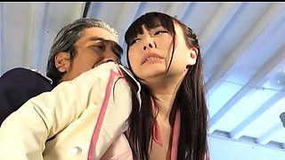 Sweet Oriental girl in uniform gets stuffed with hard meat