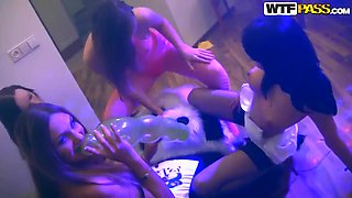 Enjoy hardcore sex party with a group of teen drunk curves