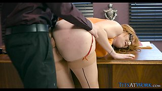 Redhead bent over and Fucked on Office Desk