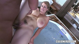 The MILFY neighbor gets a brutal boning by the tub
