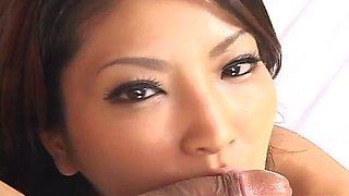 Gorgeous Japanese beauty Saya sucking uncensored
