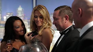 Blonde and Asian goddess invite two men for hot foursome