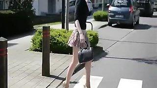 walking Alicia golden 16cm high heels smoking