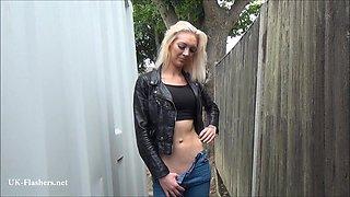 Beautiful daring blonde milf Atlantas public flashing and outdoor homemade voyeur