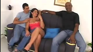 Double Penetration for a black haired chubby milf