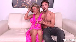 Pink lace lingerie babe with big fake tits fucked passionately