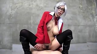 Nerdy Korean slut with big tits gets schooled in bondage