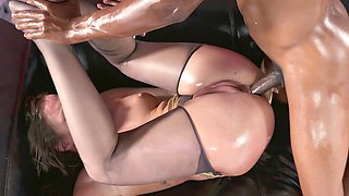 Oiled interracial sex with curvaceous Maddy OReilly
